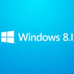 The microsoft windows 8.1 logo is displayed with a blue background